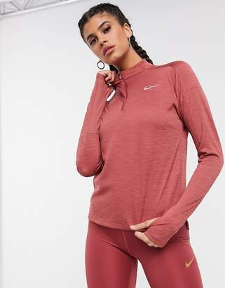 Nike Running pacer long sleeve top with half zip in pink
