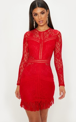 Pure Red Lace Ladder Detail Frill Hem Bodycon Dress