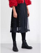 Noir Kei Ninomiya Floral-embroidered pleated tulle midi skirt