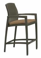 """evo 29.5"""" Patio Bar Stool with Cushion Tropitone Frame Color: Nutmeg, Cushion Color: Cascade"""
