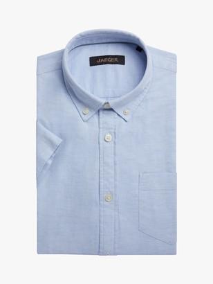 Jaeger Textured Cotton Short Sleeve Shirt, Blue