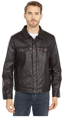 Levi's Laydown Collar Classic Trucker w/ Fly Front Snap Placket Chambray Lining (Dark Brown) Men's Coat