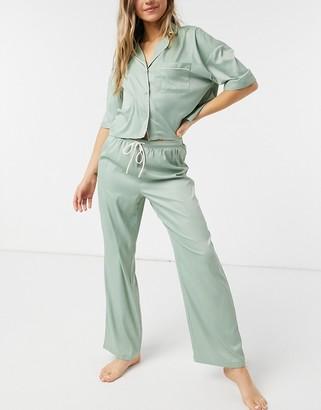 Topshop satin pyjama set in sage green