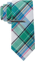 Jf J.Ferrar JF Cotton Madras Tie and Tie Bar Set - Extra Long