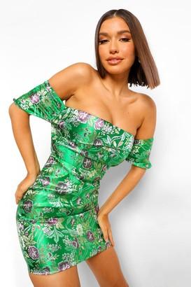 boohoo Off The Shoulder Oriental Jacquard Mini Dress