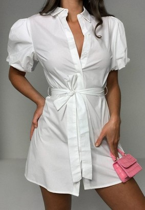 Missguided White Puff Sleeve Belted Shirt Dress