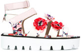 MSGM floral print platform sandals - women - Cotton/Nylon/rubber - 40