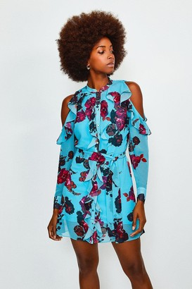 Karen Millen Floral Cold Shoulder Frill Dress