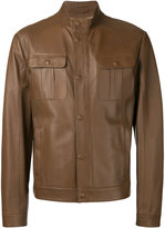 Brioni front pocket jacket - men - Silk/Leather - 52