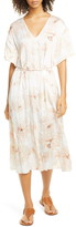 Vince Painted Magnolia Tie Waist Dress