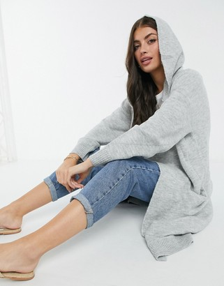 M Lounge relaxed maxi cardigan with hood