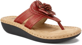 Cliffs by White Mountain Floral Thong Sandals -Carnation