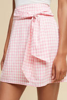 J.o.a. Tie-Front Gingham Mini Skirt
