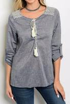 Entro Blue Cream Top