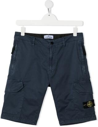 Stone Island Junior TEEN logo patch cargo shorts
