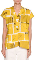 Piazza Sempione Printed Cap-Sleeve Blouse, Yellow