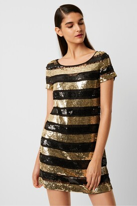 French Connection Anni Sequin Stripe T-Shirt Dress