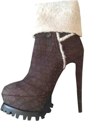 Philipp Plein \N Brown Leather Ankle boots