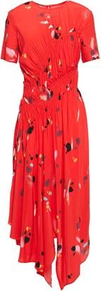 Preen Line Asymmetric Gathered Printed Crepe Dress
