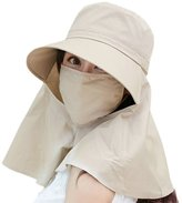 Siggi Womens Wide Brim Summer Sun Flap Cap Hat Neck Cover Face Mask 100% Cotton UPF 50+ Khaki