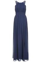 Quiz Navy Chiffon Embellished High Neck Maxi Dress