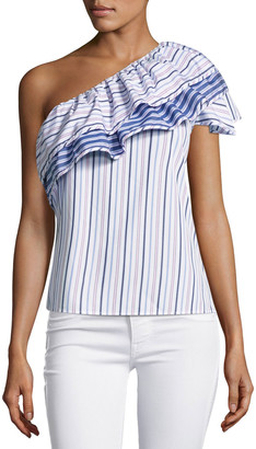 Parker Mary Asymmetric Striped Cotton Top, Blue Pink Multi