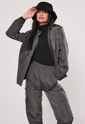 Missguided Grey Co Ord Double Pocket Detail Shell Jacket