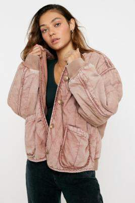 Free People Mixed Signals Liner Jacket - purple S at Urban Outfitters