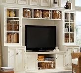 Pottery Barn Logan Media Suite with Drawers and Glass Towers & Bridge, Antique White