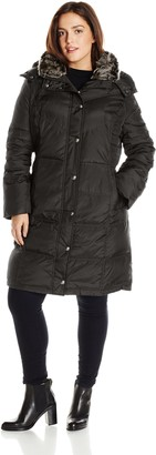London Fog Women's Plus-Size Mid-Length Faux-Fur Collar Down Coat with Hood