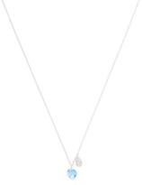 Meira T 14K White Gold, Blue Topaz & 0.06 Total Ct. Diamond Pendant Necklace
