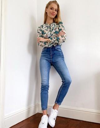 Stradivarius super high waist skinny jean in light blue