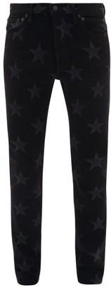 TAKAHIROMIYASHITA TheSoloist. Star-print Cotton-blend Slim-leg Jeans - Black