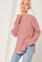 Missguided Pink Funnel Neck Ribbed Stitch Sweater