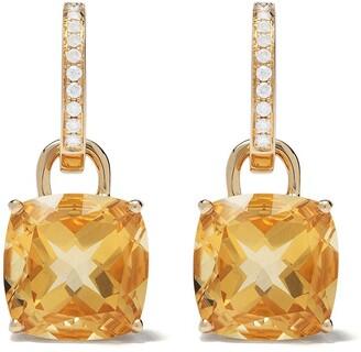 Kiki McDonough 18kt yellow gold Kiki Classics cushion cut citrine and diamond detachable hoop earrings