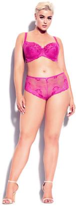 City Chic Cosette Lace Demi Bra - hot pink