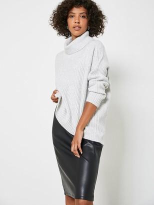 Mint Velvet Faux Leather Seam Detail Skirt