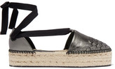 Bottega Veneta Metallic Intrecciato Leather Platform Espadrilles - Anthracite