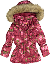 Catherine Malandrino Rose Floral Faux Fur Hooded Puffer Jacket - Toddler & Girls