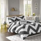 Bed Bath & Beyond Libra Reversible Chevron 4-Piece King Comforter Set in Black/White