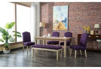Bungalow Rose Hannam 6 Piece Dining Set Color: Purple
