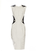 Thierry Mugler Contrast-panel pinstriped crepe dress