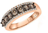 LeVian Chocolatier Vanilla Diamond, Chocolate Diamond and 14K Rose Gold Ring 1.09 TCW