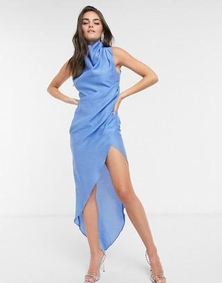 ASOS DESIGN cowl neck drape detail dress with open back