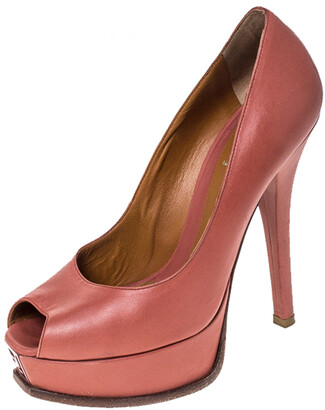 Fendi Coral Pink Leather Fendista Peep Toe Platform Pumps Size 38