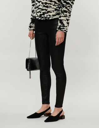 Reiss Lux snake-print coated skinny jeans