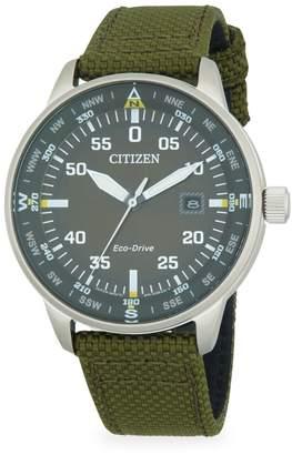 Citizen Stainless Steel & Nylon-Strap Watch