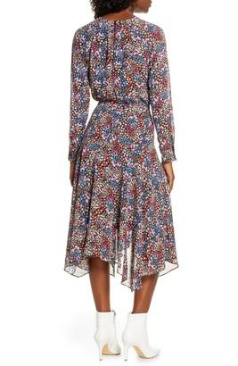 Charles Henry Floral Print Long Sleeve Handkerchief Hem Dress