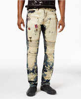 Heritage America Men's Bleached Decorated Moto Jeans