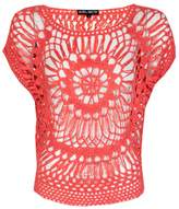 Select Fashion Fashion Womens Blue Flower Front Crochet Top - size S